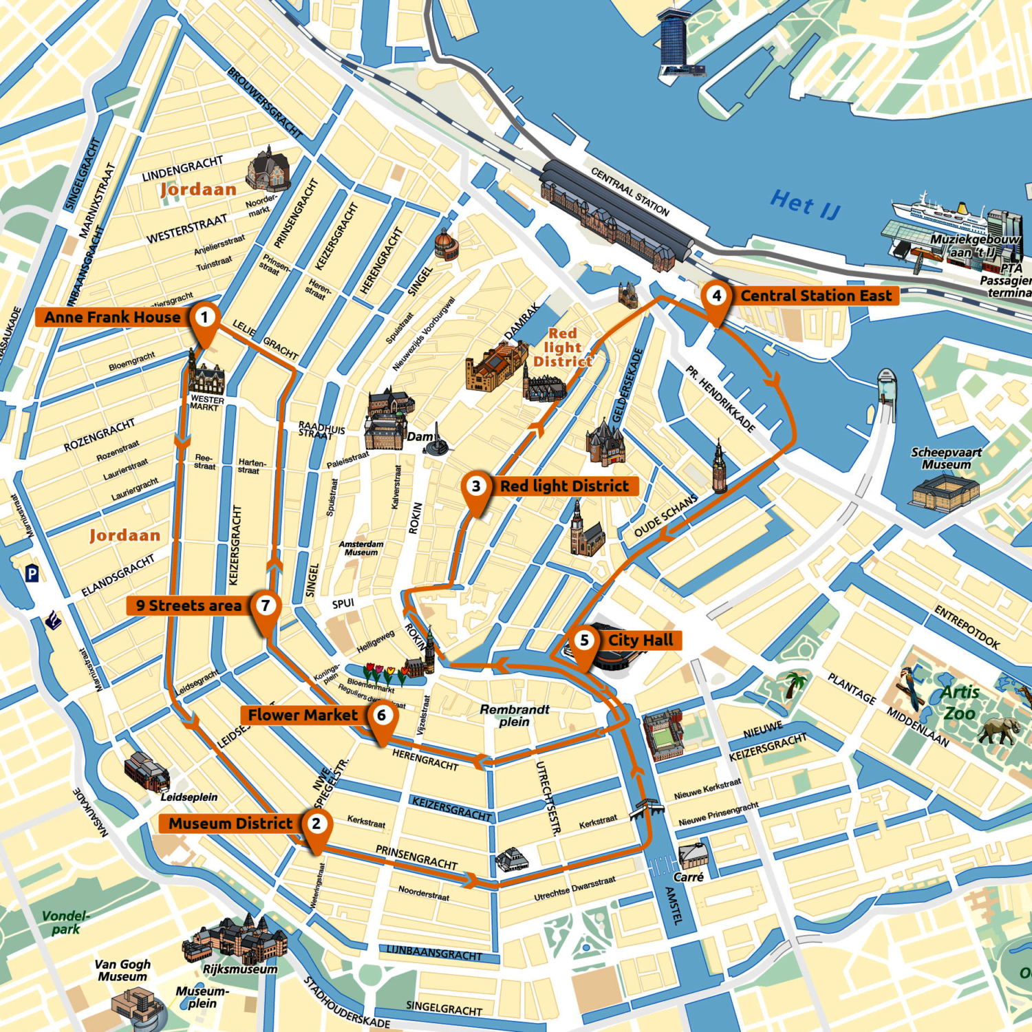 Plattegrond Amsterdam Canal District
